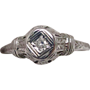 Art Deco 18 Karat White Gold Diamond Filigree Engagement Ring