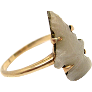 Victorian 14K Gold Carved Stone Arrowhead Ring Victorian circa 1890