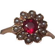 Victorian Seed Pearl Ruby Gold Ring