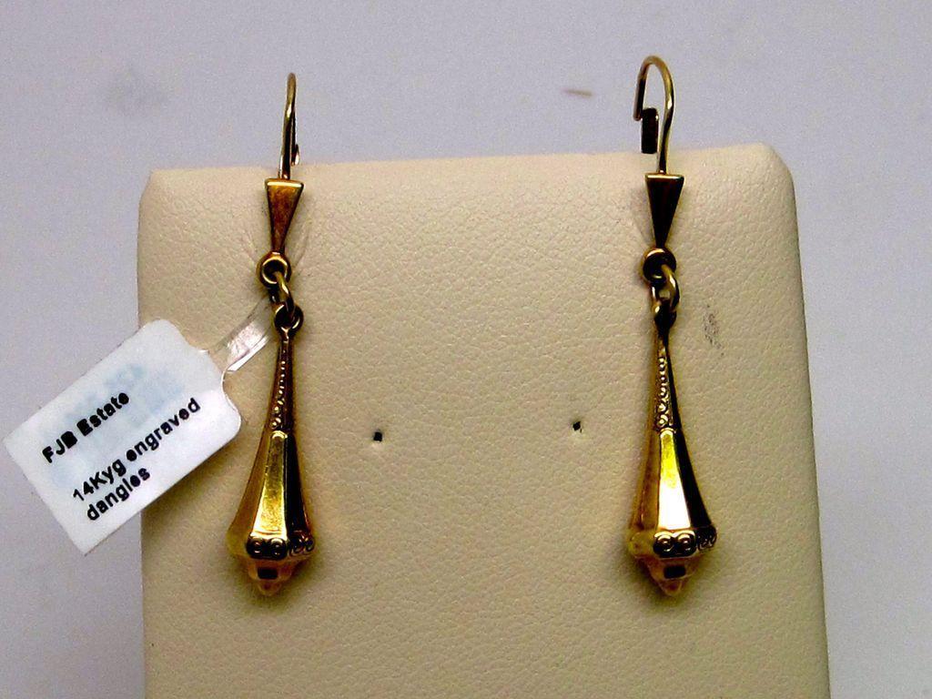 Gold Engraved Dangle Earrings