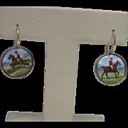Edwardian 9K Rose Gold Hand Painted Enamel Horse & Rider Earrings