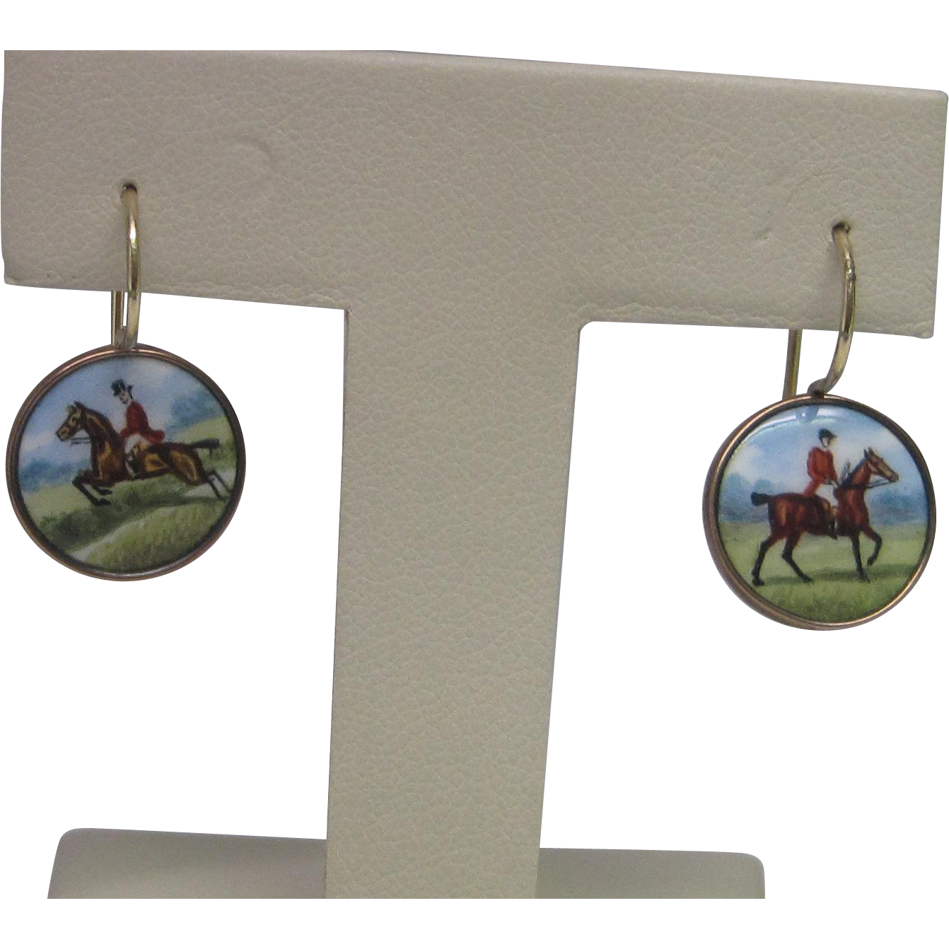 Edwardian 9K Rose Gold Hand Painted Enamel Horse & Rider Earrings