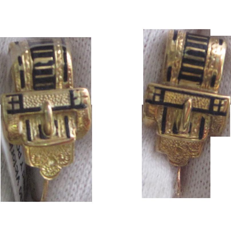 1880 Antique Victorian Black Enamel Buckle Earrings