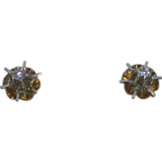 14K Two Tone Gold Diamond Buttercup Stud Earrings
