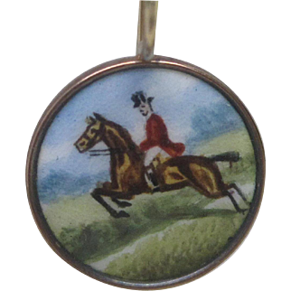 Edwardian Rose Gold Hand Painted Enamel Horse & Rider Earrings