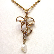 14K Natural Pearl Art Nouveau Dangle Pendant