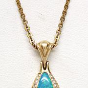 Opal Tanzanite Diamond 14K Gold Kabana Pendant