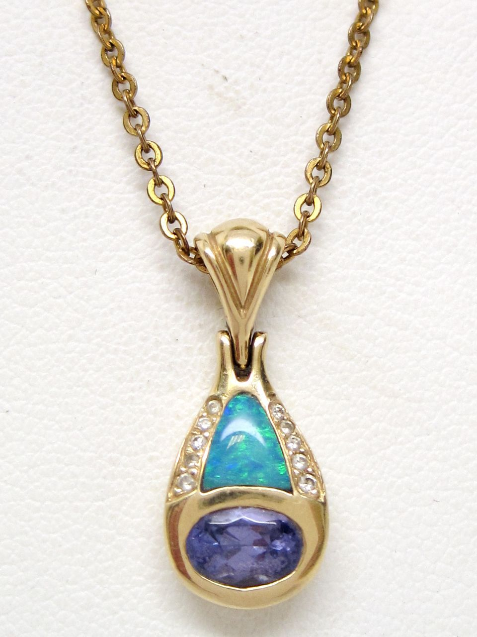 Opal Tanzanite Diamond 14K Gold Kabana Pendant