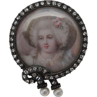 Natural Pearls and Rose Cut Diamonds on a Silver over Gold Painted Portrait Pin