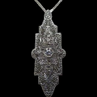 Art Deco Diamond 14 Karat Gold Filigree Pendant