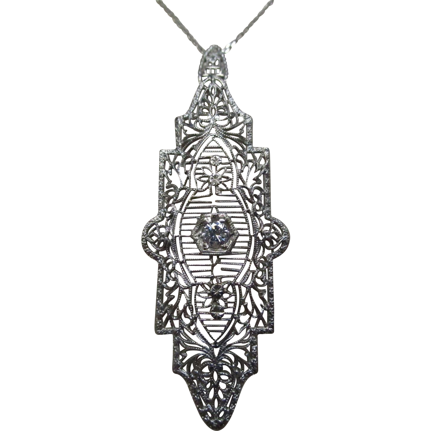 Art Deco Diamond 14 Karat Gold Filigree Pendant