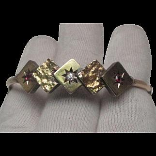 Victorian Rose Gold Diamond and Ruby Bracelet