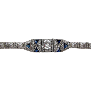 Edwardian Filigree 10K White Gold Bracelet With Diamonds And Synthetic Sapphires