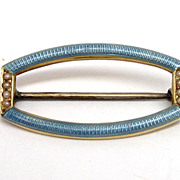 Art Deco 14K Gold Pearl & Blue Enamel Guilloche Pin Brooch