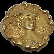 Art Nouveau Diamond Brooch & Watch Holder in 14K Yellow Gold