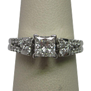 14K White Gold Princess Cut Diamond Engagement Ring and Wedding Band