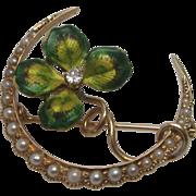 Art Nouveau Diamond & Pearl Enameled Clover Honeymoon Brooch in 14K Yellow Gold