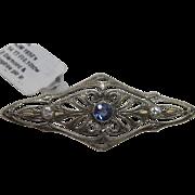 Sapphire & Diamond Filligree Pin In 14K White & Yellow Gold