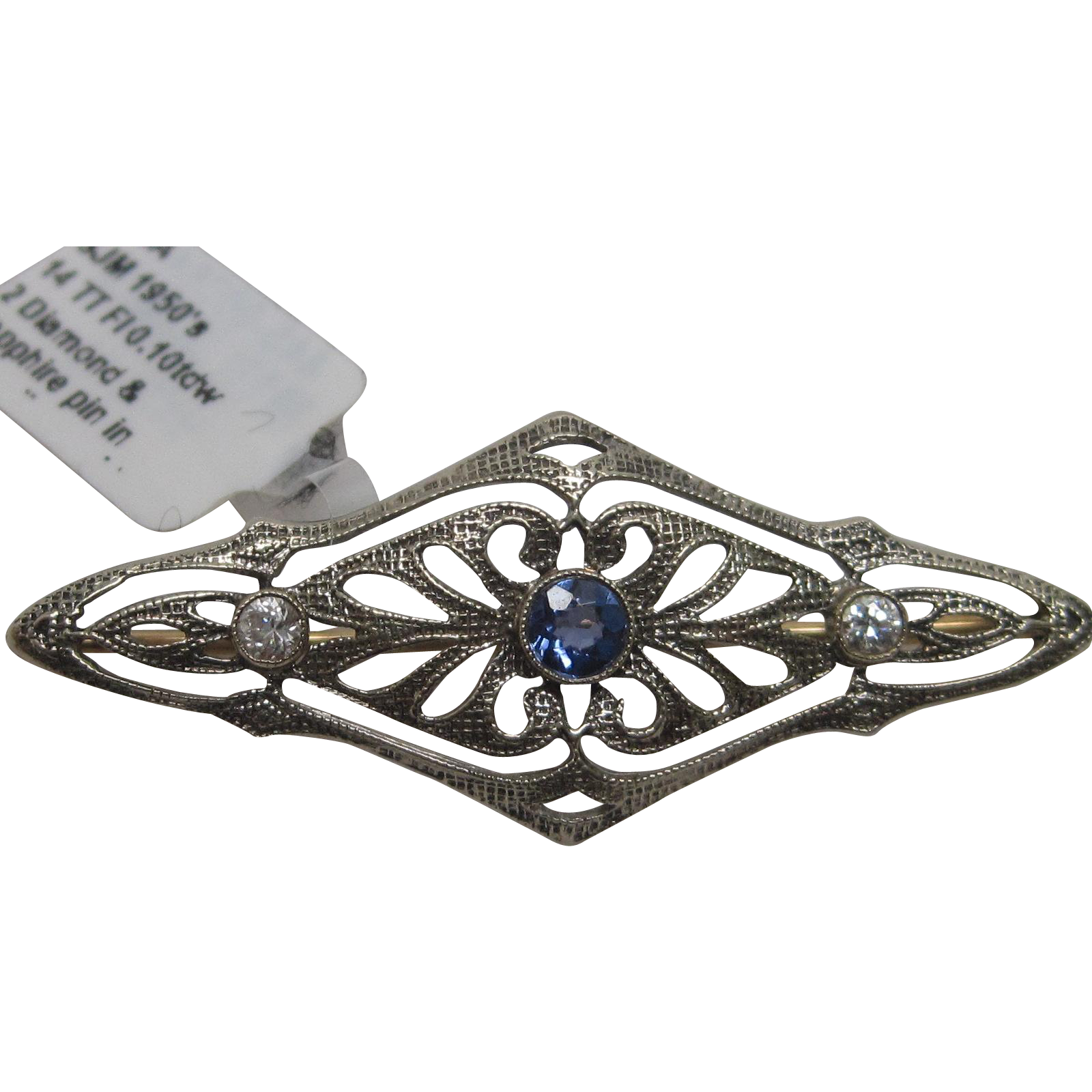 Sapphire & Diamond Filligree Pin In 14K White & Yellow Gold