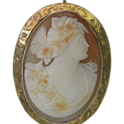 Victorian Hand Engraved Shell Cameo in 10K Yellow Gold