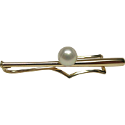 Tiffany & Co. 14 Karat Gold Baseball Bat with Pearl Tie Bar