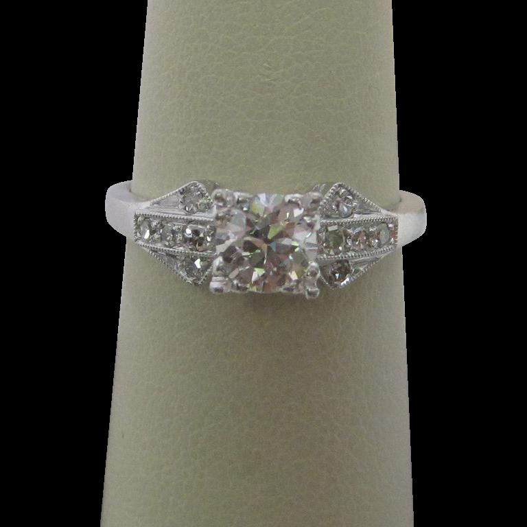 1950's Platinum Diamond Engagement Ring