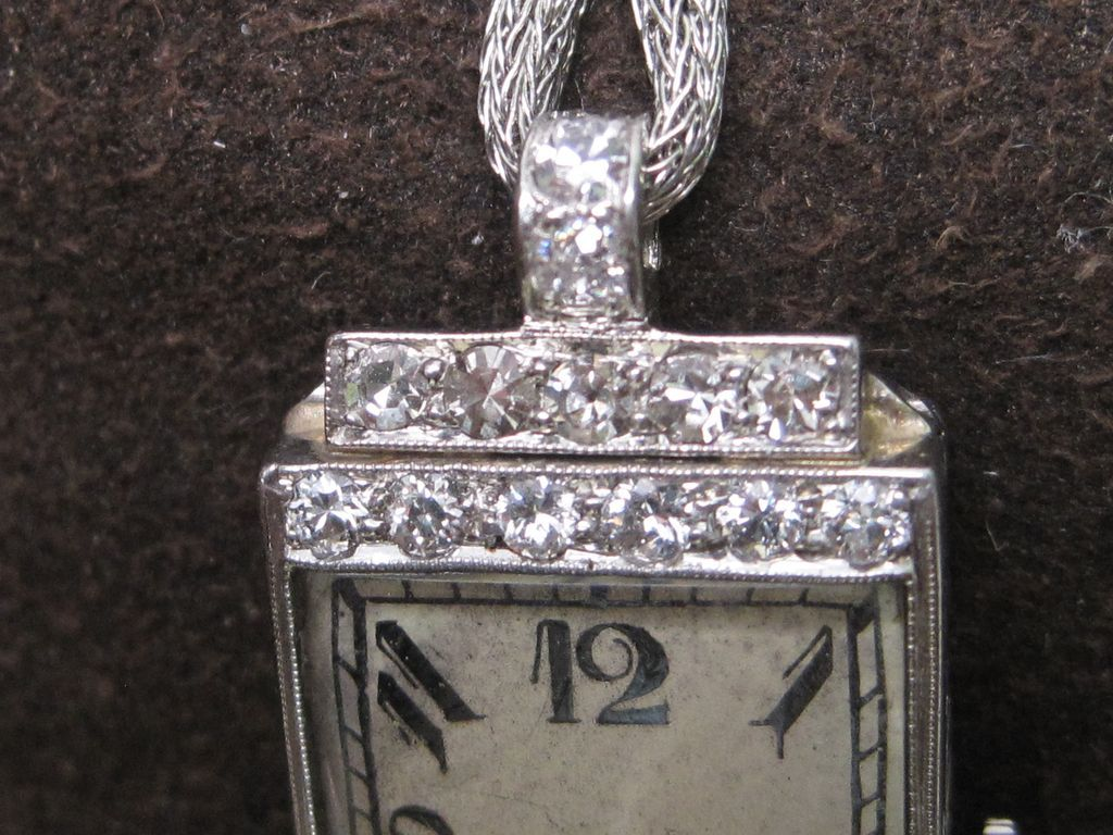 Diamond Art Deco Quartz Watch Platinum Large Dial