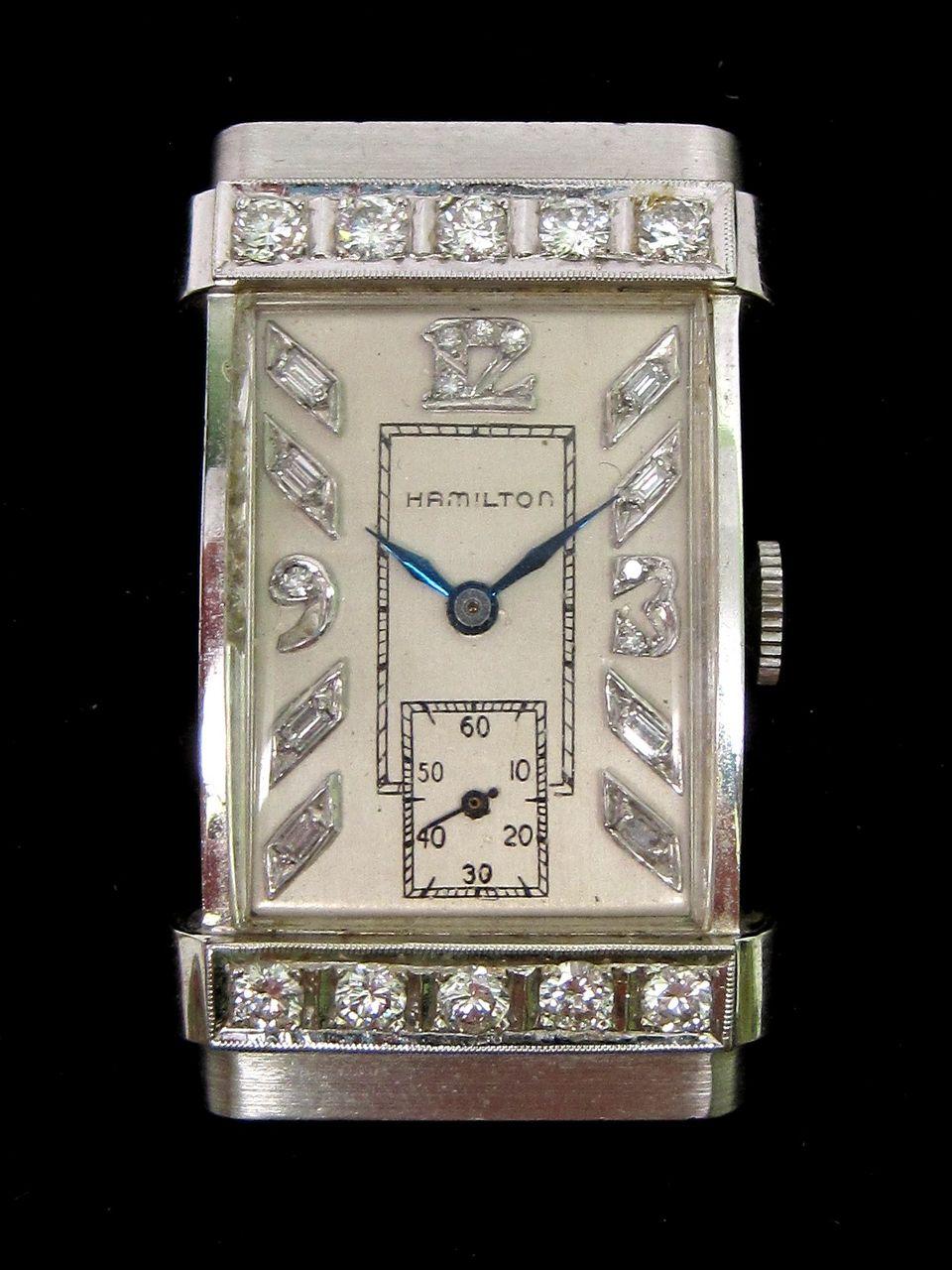 Vintage Hamilton Diamond & 14K White Gold Watch