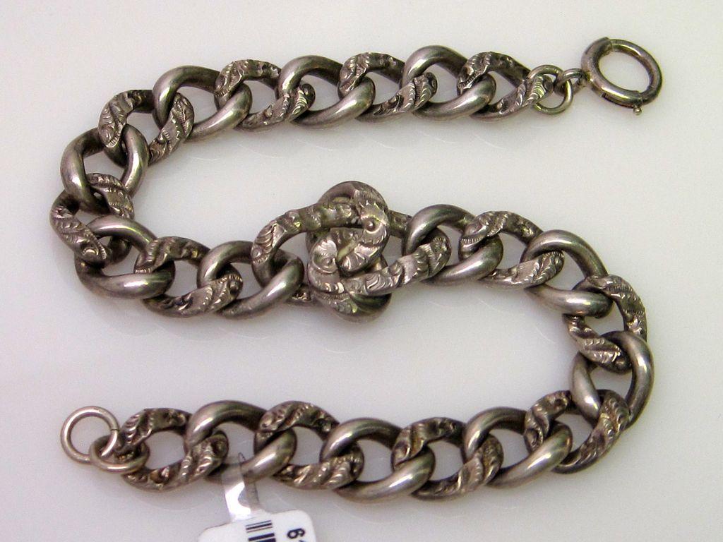 Victorian Hand Engraved Silver Link Bracelet