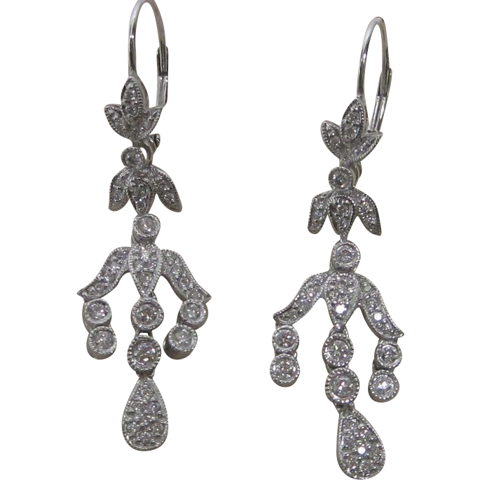 1.25 ct. Diamond Drop Earrings In 14K White Gold