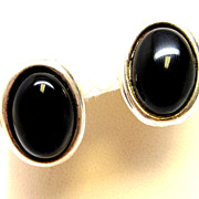 Vintage Black Onyx Sterling Silver Designer Earrings