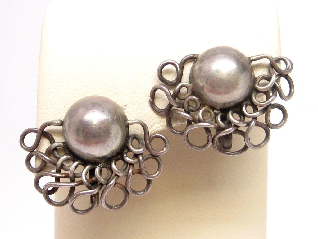 Wm. SPRATLING Sterling Silver Earrings Old Mexican early 1940 taxco