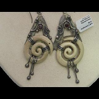 Sterling Silver Earrings With Bone And Garnet