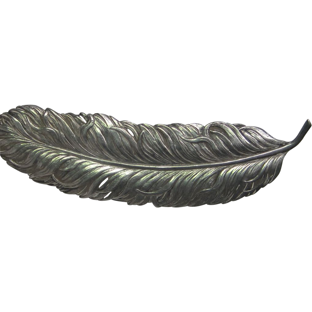 Victorian Sterling Silver Feather Brooch