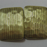 14K Art Deco Hammered Stripe Cufflinks
