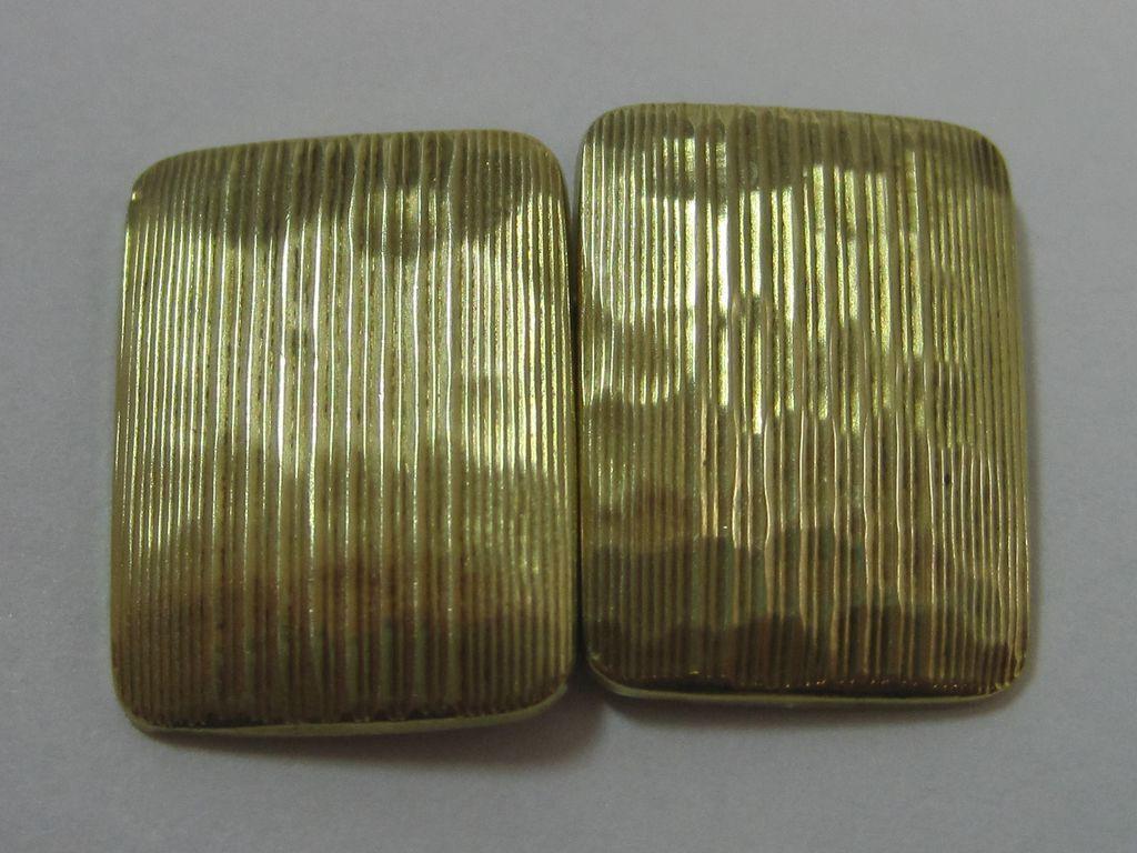 14K Art Deco Hammered Stripe Cufflinks