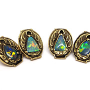 Genuine Arts & Crafts Black Opal 14K Gold Cufflinks by Walton & Co.