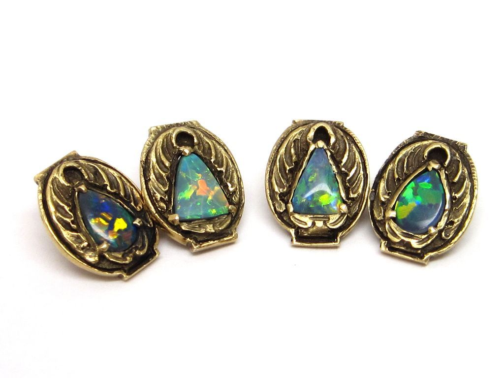 Genuine Arts & Crafts Black Opal 14K Gold Cufflinks by Walton & Co.