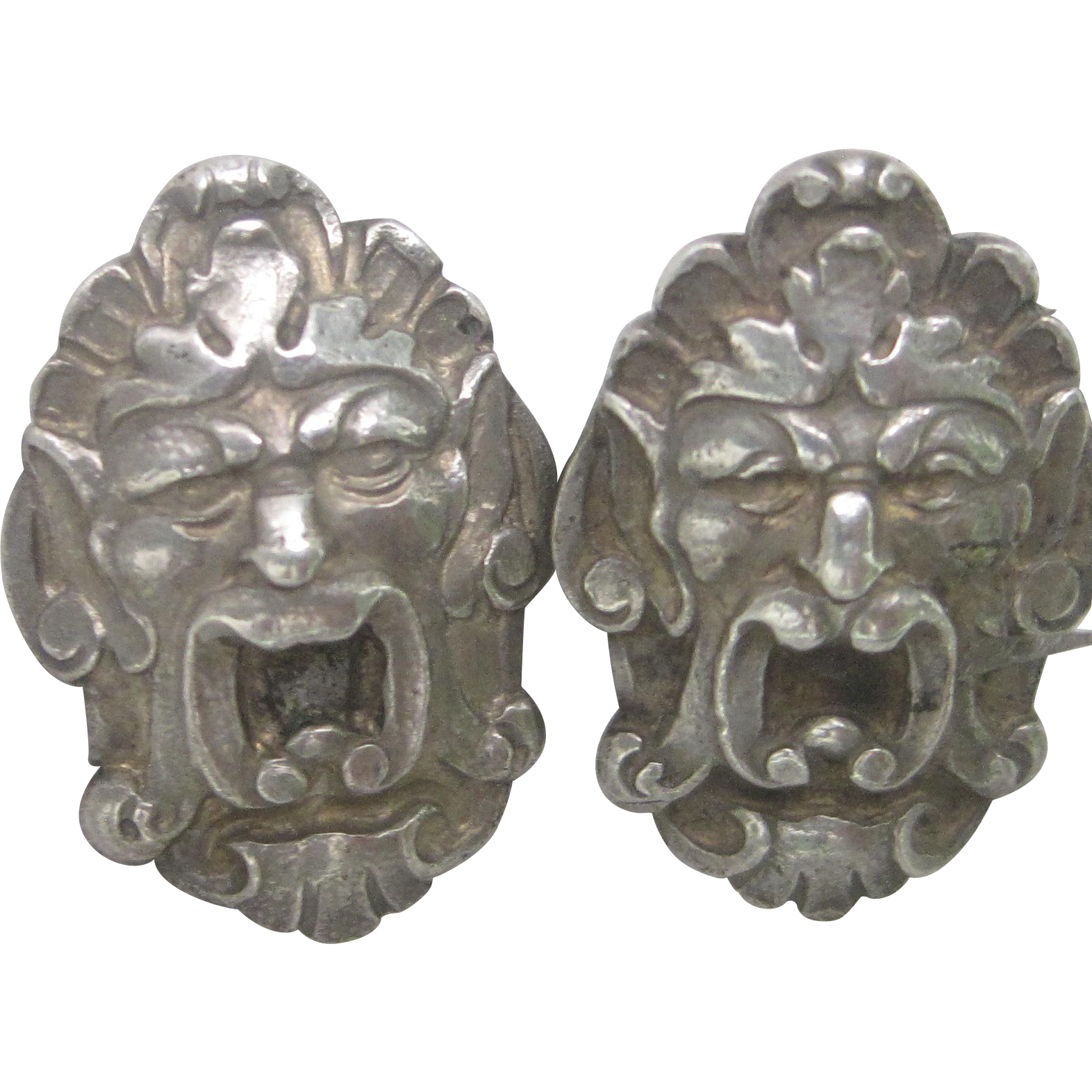 Njord, Norse God of Wind and Sea, Art Nouveau Sterling Silver Cufflinks