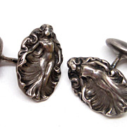 Art Nouveau Sterling Silver Nude Cufflinks whimsy