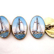 Gold Vermeil Sterling Handpainted Enamel Sailboat Yacht Boat Cufflinks
