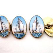 Gold Vermeil Sterling Handpainted Enamel Sailboat Yacht Boat Cufflinks