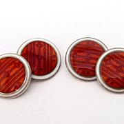 Red & White Deco Sterling Silver Enamel Cufflinks