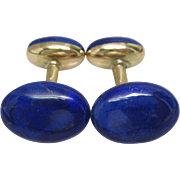Victorian Carter Gough Hand Painted Blue Enamel Cufflinks in 14K Yellow Gold