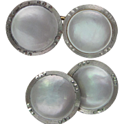 Art Deco Mother of Pearl Cufflinks in 14K Yellow and White Gold