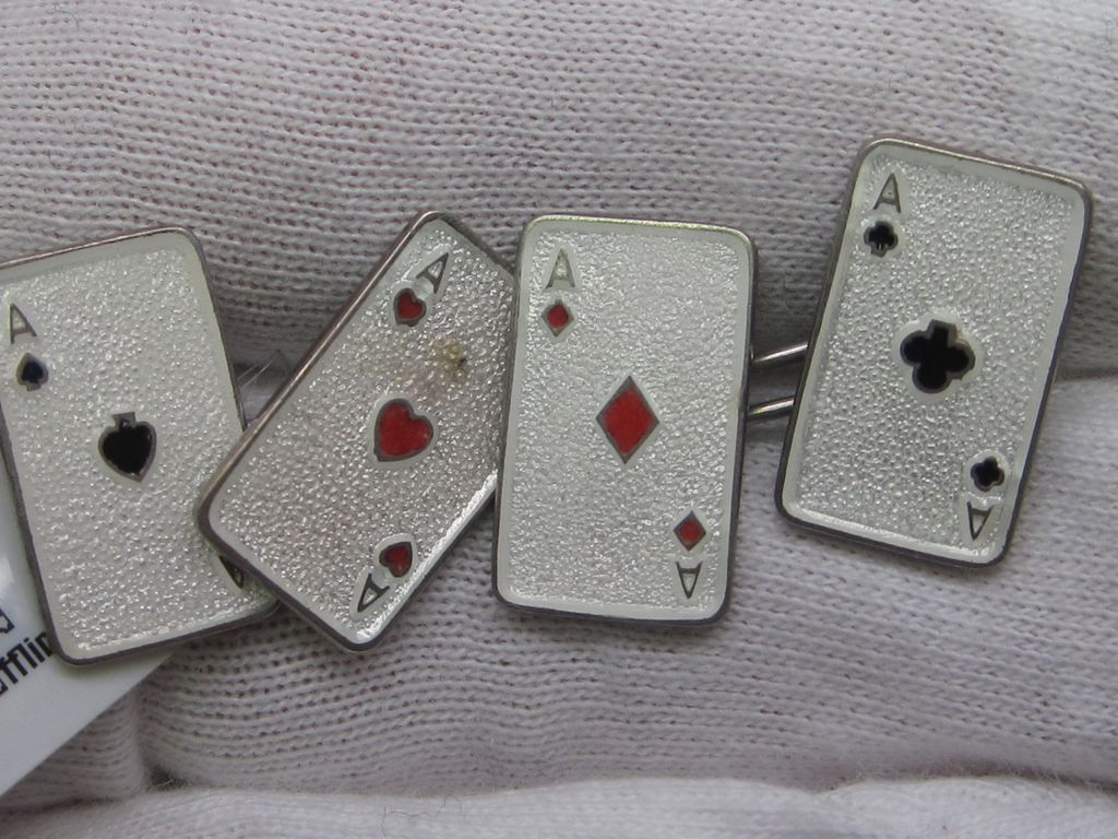 Art Deco Playing Card Enamel Cufflinks
