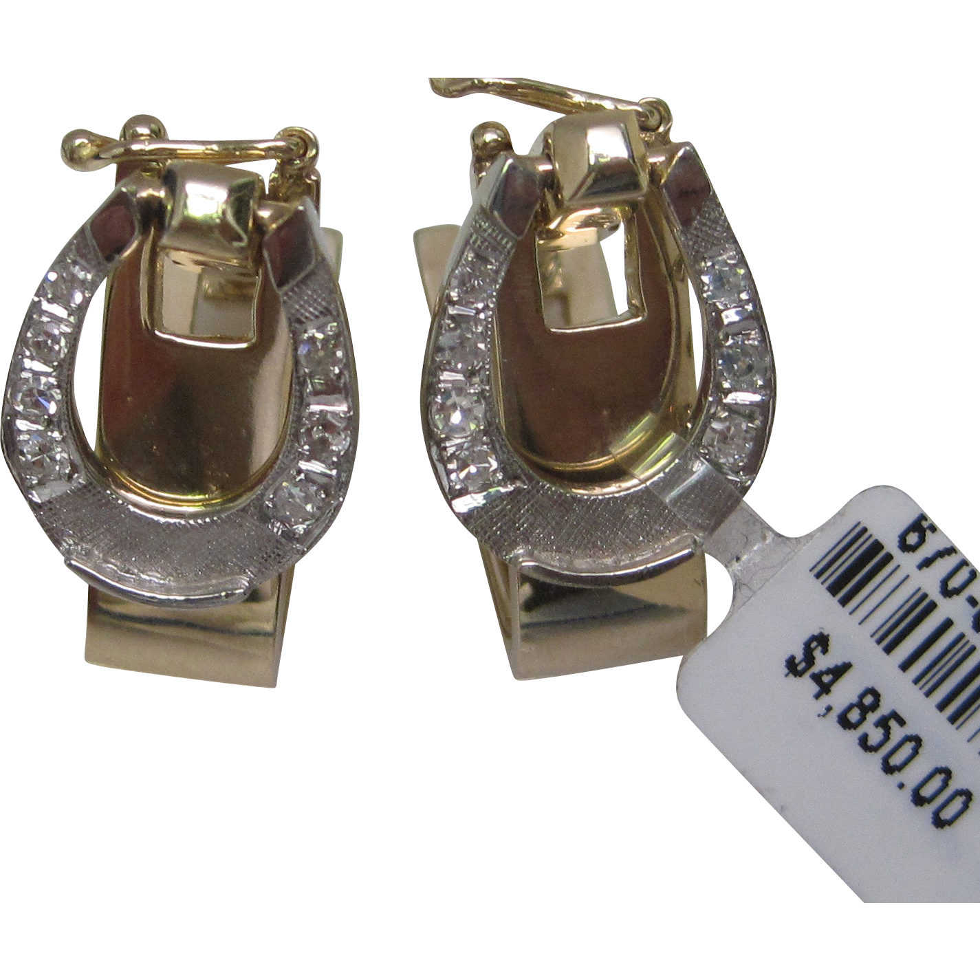 14k yellow and white gold horseshoe diamond cufflinks from