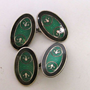 Green and Black Sterling silver Enamel Cufflinks