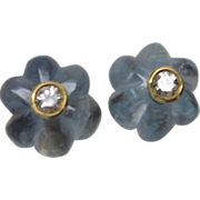 Aquamarine & Diamond Cufflinks in 18K Gold
