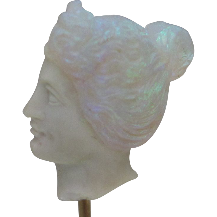 Art Nouveau Carved Opal Bust on 14K Rose Gold Stick Pin in Original Green Velvet Fitted Box